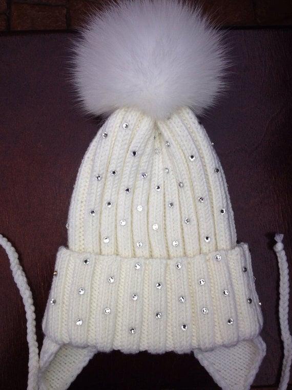 69876accaa7 Image of Ribbed Knit Beanie Wool Hat - Fox Fur Pom Pom - Clear Swarovski  Crystals