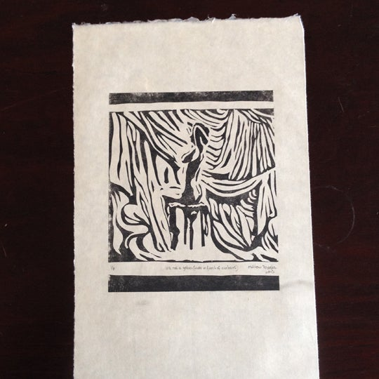Image of It's not a zebra (Nude in front of curtains)