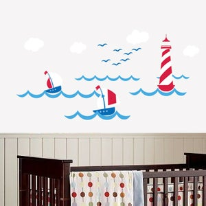 Image of NEW!! Lighthouse Wall Decal  Sail Boats Nautical Theme Nursery