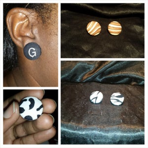 Image of Fashion Fabric Button Earrings