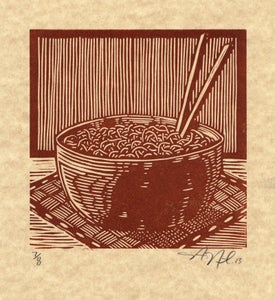 Image of Noodle Bowl Lino-cut