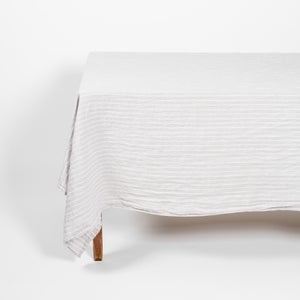 Image of Linen Tablecloth Grey Stripe