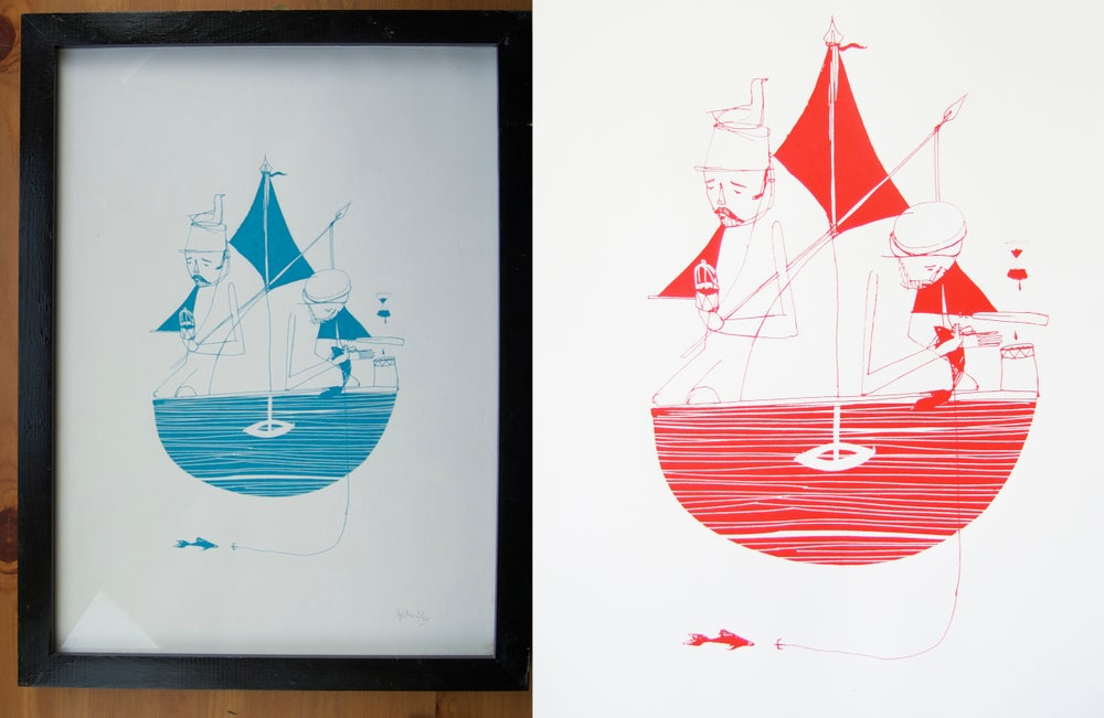 "Image of ""At Sea"" screen print"