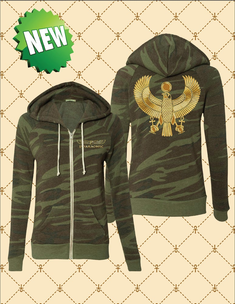 Image of WOMENS GOLD HERU CAMO ZIP-UP HOODIE