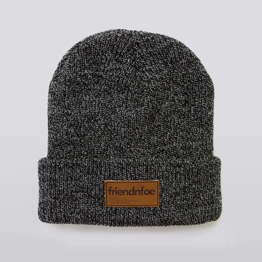 Image of Dark Heather Leather Patch Beanie