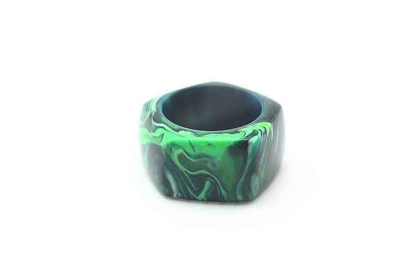 Image of Jade Black Pentagon Ring