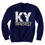 Image of KY Raised Crewneck Sweatshirt in Navy / White / Grey