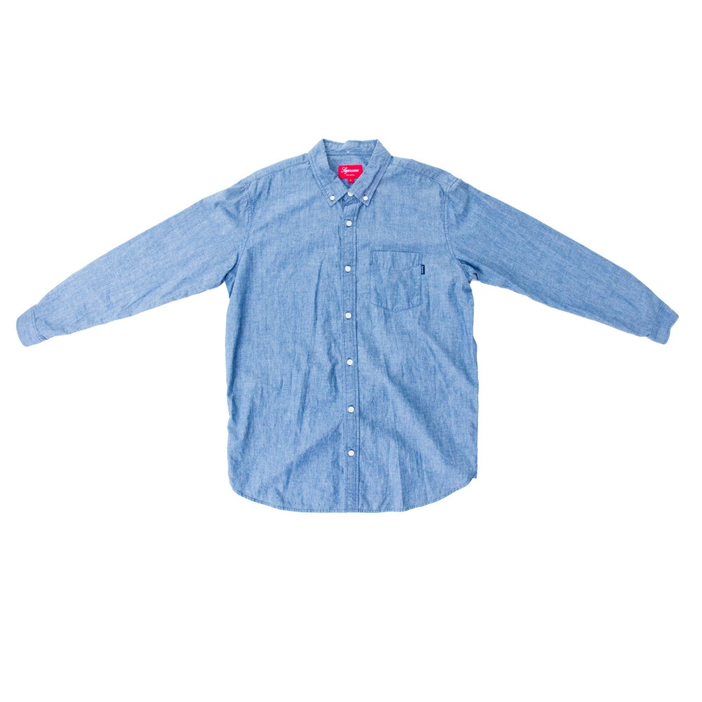 Image of SUPREME STRIPED SELVAGE CHAMBRAY BUTTON-UP