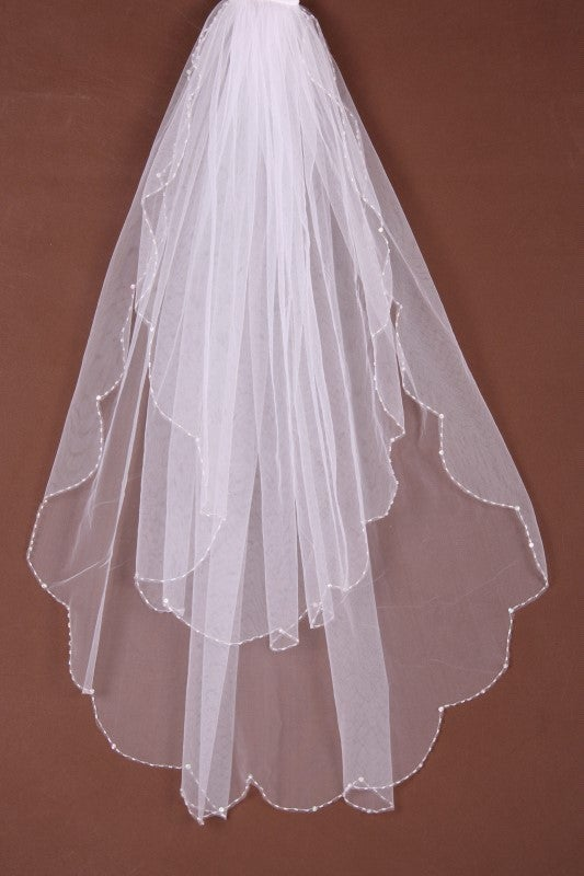 Image of Stunning Beaded Veil - Ivory