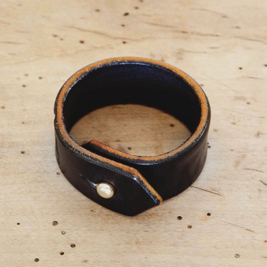 Image of Black Leather Cuff Bracelet