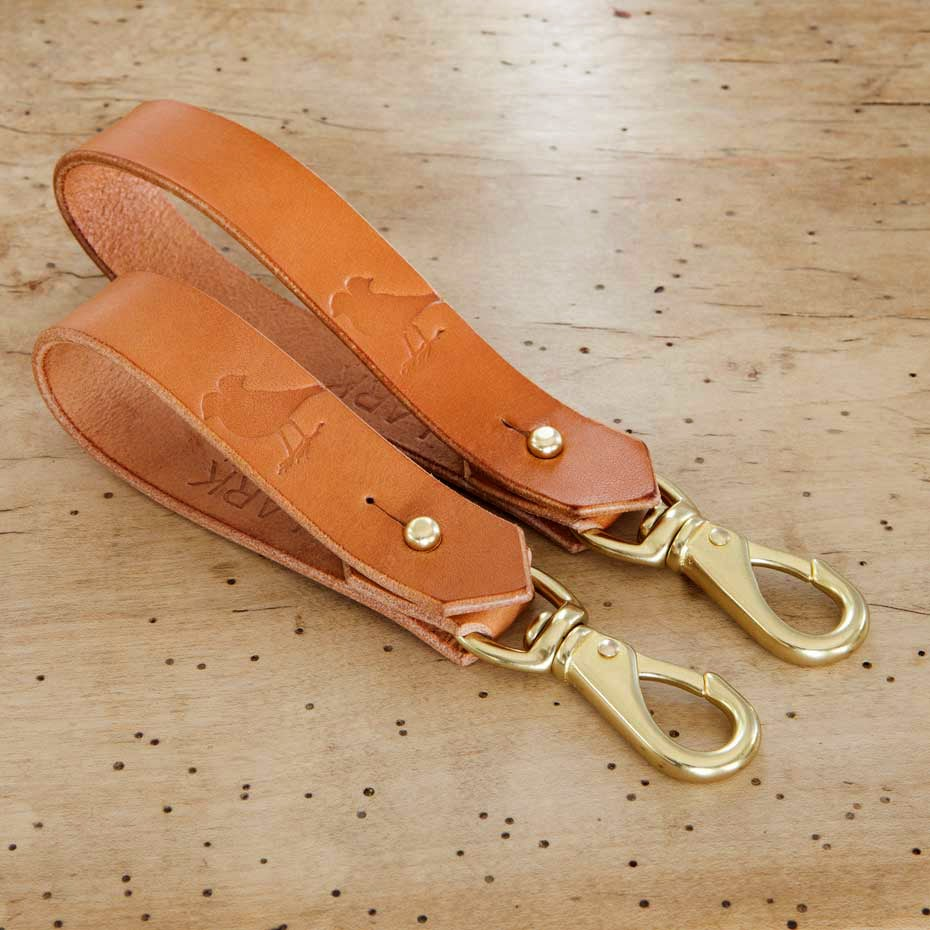 Image of Tan Leather Wrist Lanyard with Lever Snap