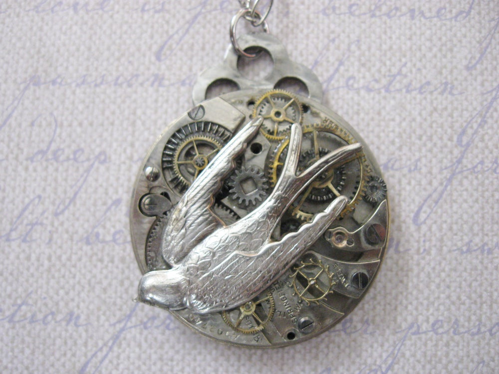 Image of Steampunk Victorian Pretty Silver Swallow Antique Pocket Watch Pendant