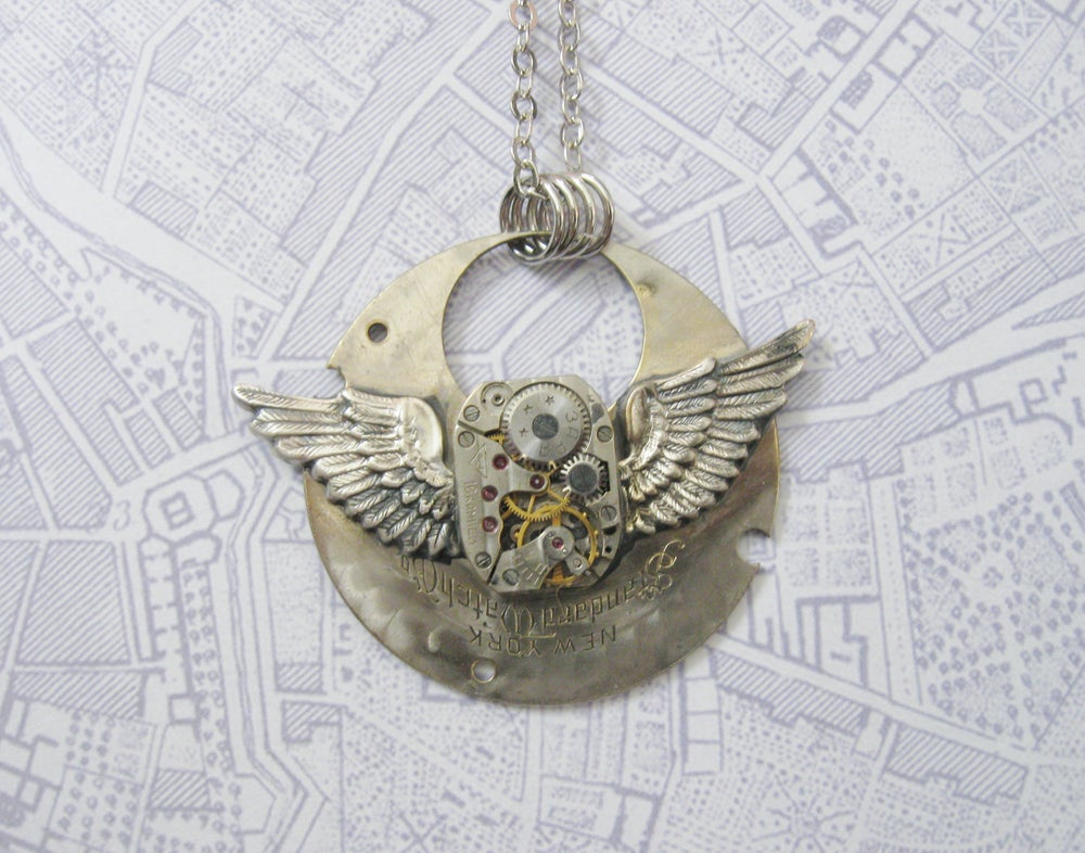 Image of Steampunk Neo Victorian Silver Aviator Wings Antique Watch Necklace