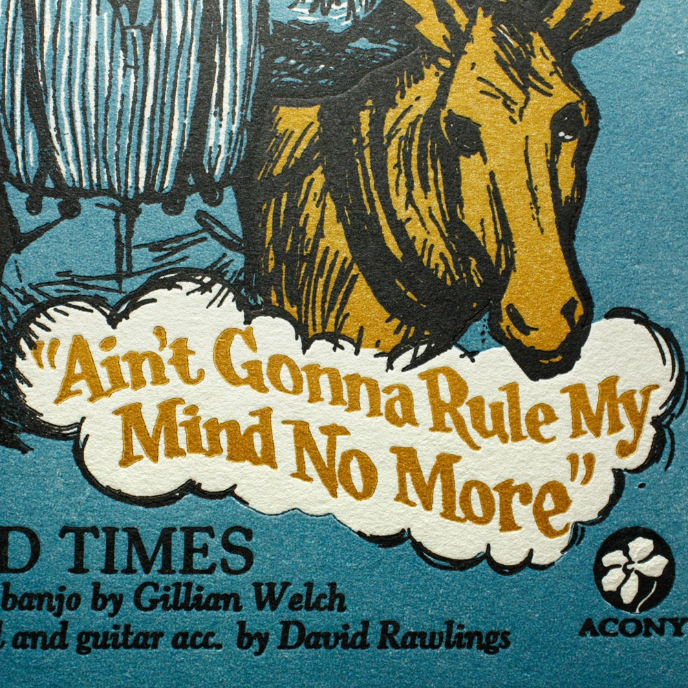 Hard Times - Official Acony Gillian Welch Songprint