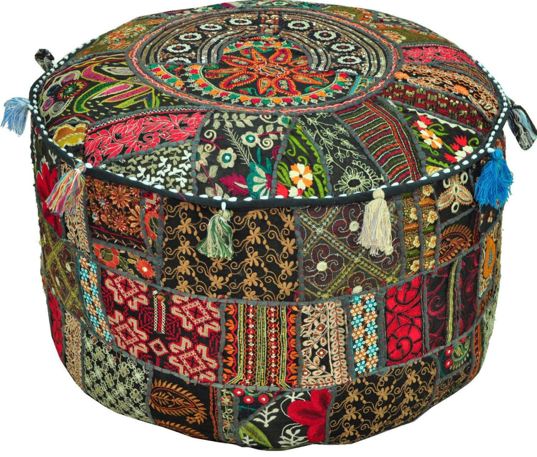 Bohemian Patchwork Vintage Indian Pouf Ottoman Pouffe