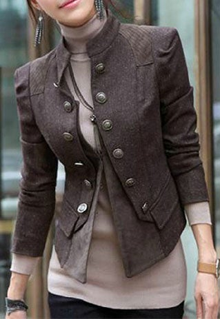 Image of [grzxy6600893]Cool Stylish Double Breast Solid Color Jacket Coat