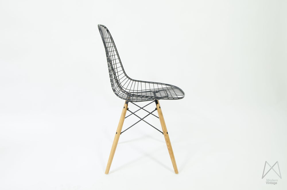 Image of Eames Herman Miller DKR black wire chair oak dowel base