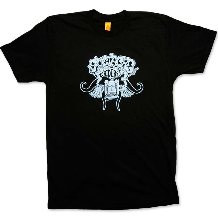 Image of MUSTACHE RIDERS - men's black & blue t-shirt