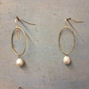 Image of Oval Hoop with Freshwater Pearl