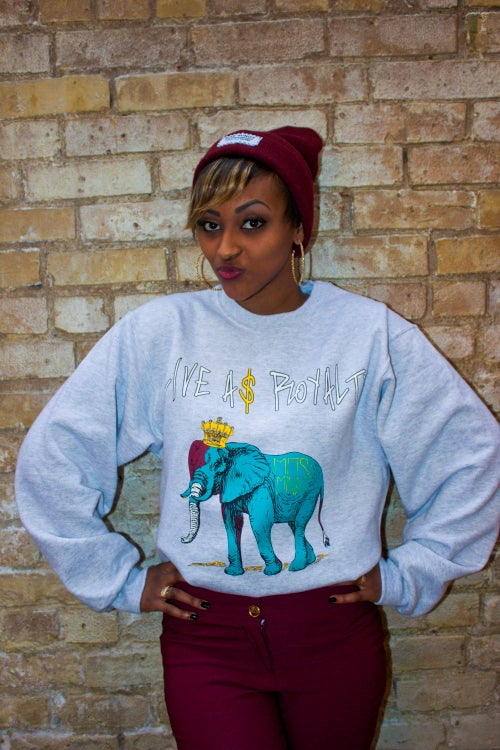 Image of LIVE A$ ROYALTY - BLUE ELEPHANT Crew Neck Sweater