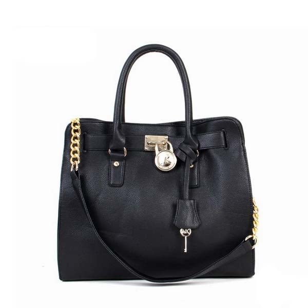 Image of Michael Kors Hamilton Smooth Outlook Large Black Tote