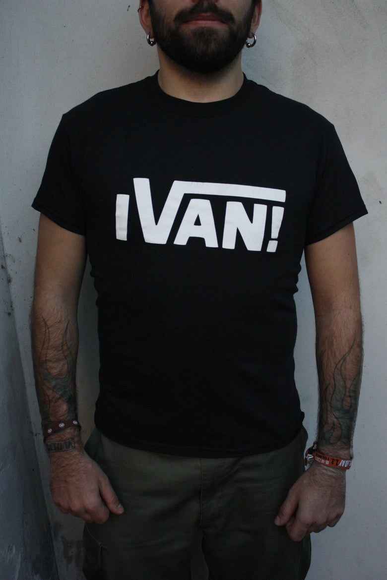 Image of White logo on black t-shirt