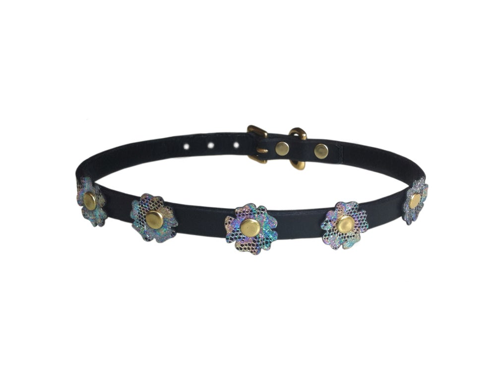 Image of Black Leather Floral Hologram Choker