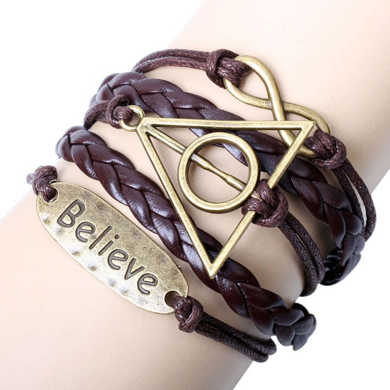 Image of Believe Deathly NIce Hallows Infinity Bracelet