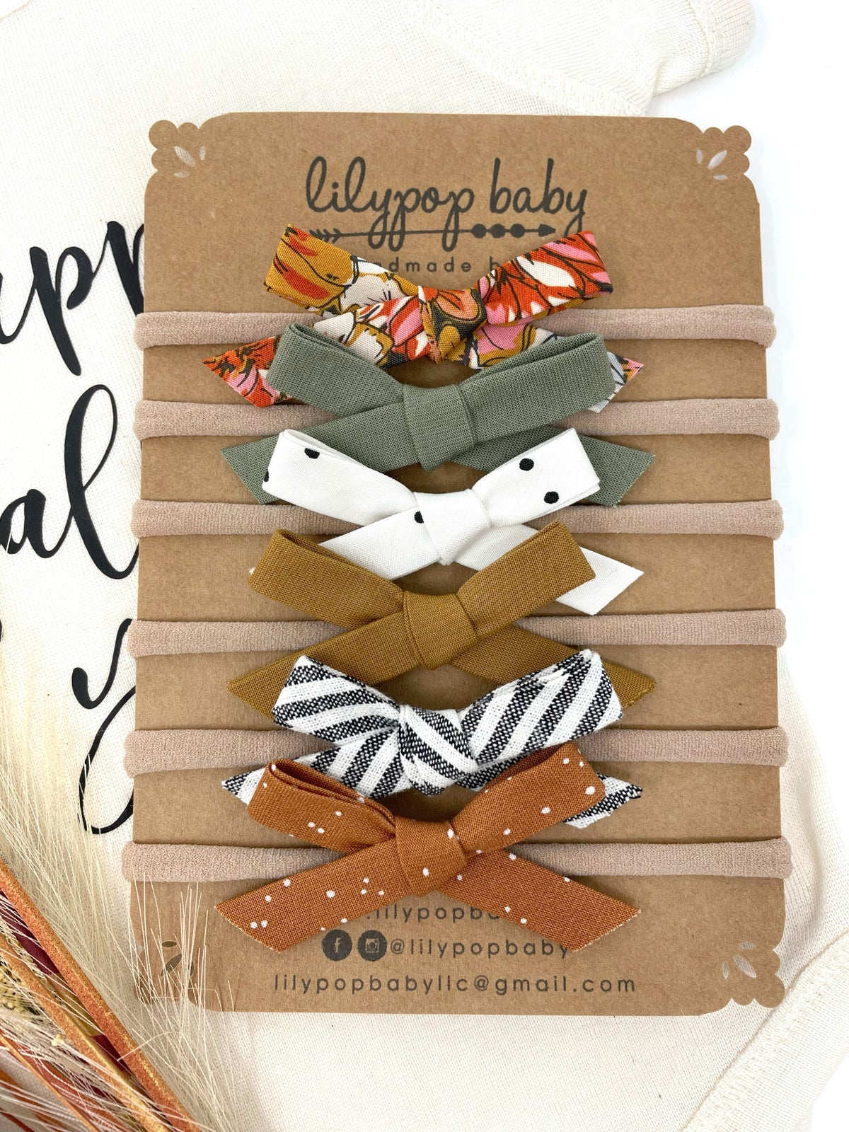 Image of Baby Hand Tied Fall Cotton Headbands (Sold Separately)