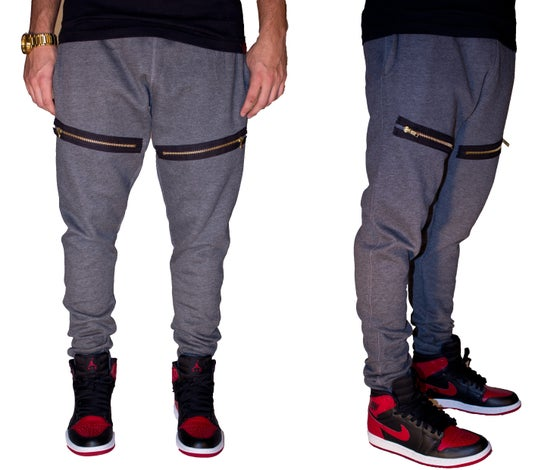 Image of Dark Grey  Skinny Sweatpants with Gold Zippers