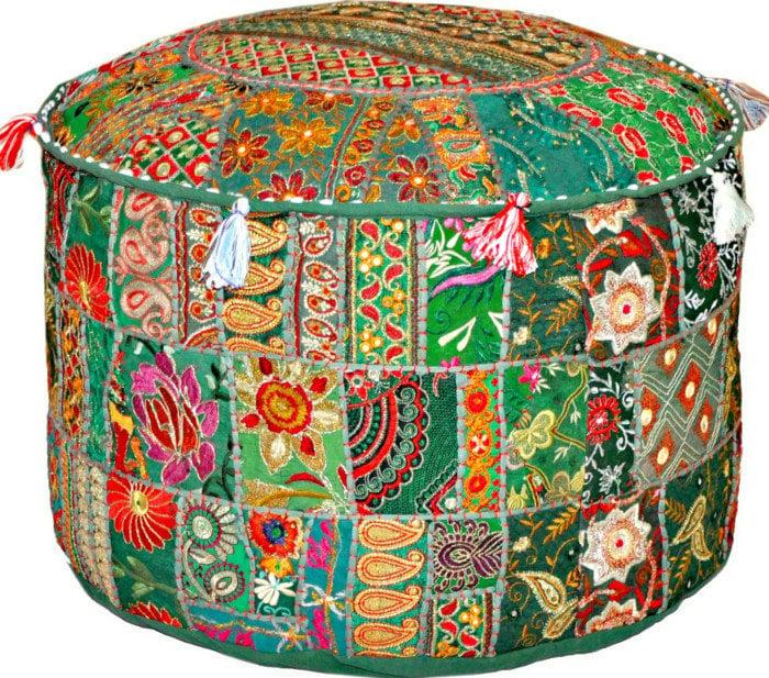 Bohemian Patchwork Pouf Ottoman Vintage Indian Pouffe