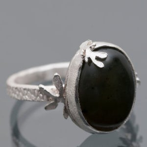 Image of Botanical Fern Deep Green Jade Ring