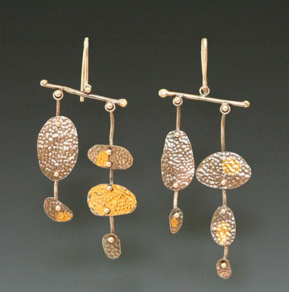 Image of Balance Earrings: Silver and Keumboo Gold