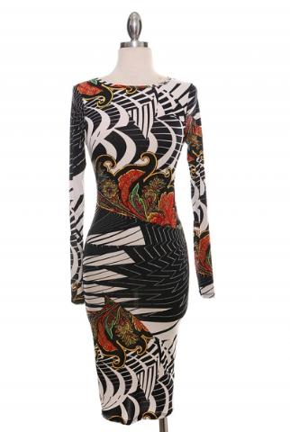 Image of White (Multi Colored) Paisley Dress Regular and Plus Size