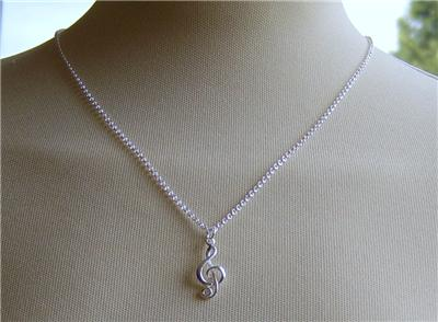 Image of Melody Music Note pendant necklace 925 sterling silver