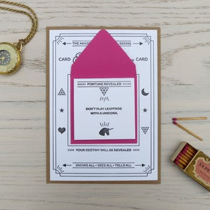 Image of fortune telling letterpress card: unicorn