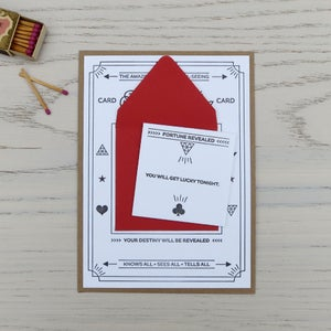Image of fortune telling letterpress card: get lucky