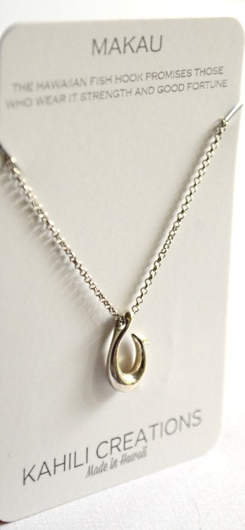 Image of Makau Hawaiian Fish Hook Necklace Silver