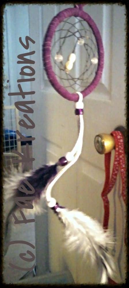 "Image of Purple and White 3"" Dream Catcher"