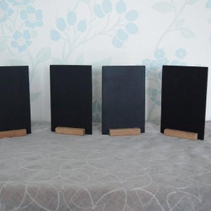 Dual-Sided Mini Standing Chalkboard with Attached Base (4 pieces)