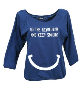 Image of DO THE REVOLUTION AND KEEP SMILING - Pulli blau