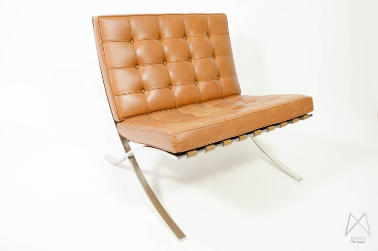 Image of Mies van der rohe Barcelona Chair Cognac leather vintage original Knoll