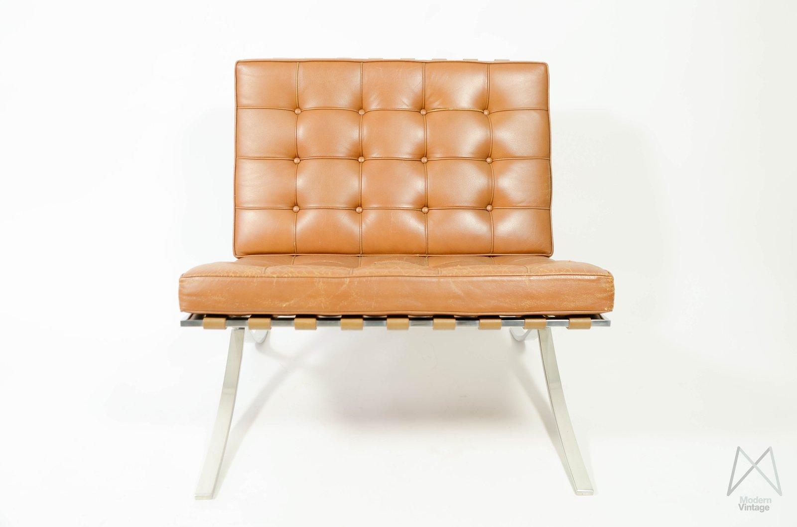 ... Image Of Mies Van Der Rohe Barcelona Chair Cognac Leather Vintage  Original Knoll ...