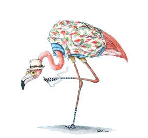 "Image of ""Flamingo Hunter S."" Giclee PRINT"