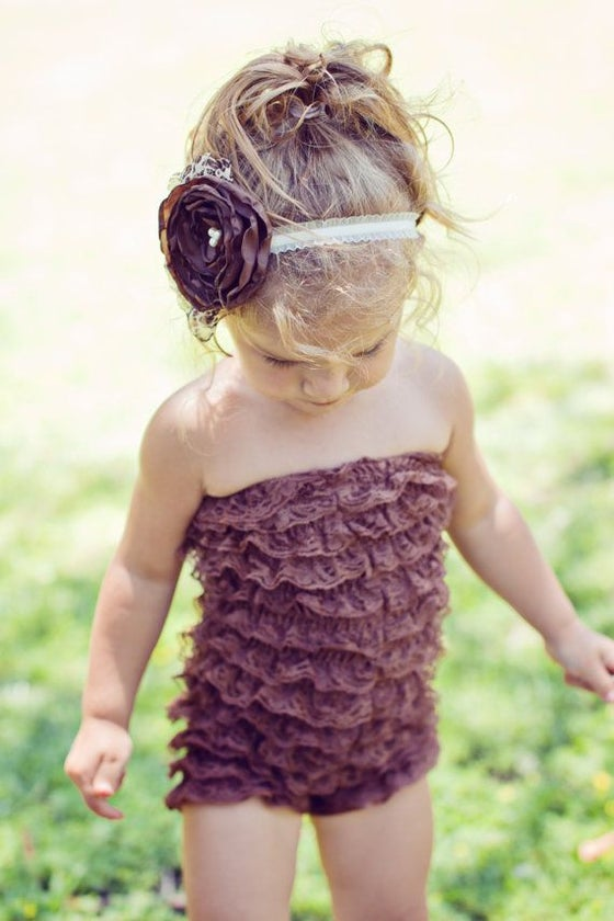 Image of Ruffled Frill Lace Romper | Cafe