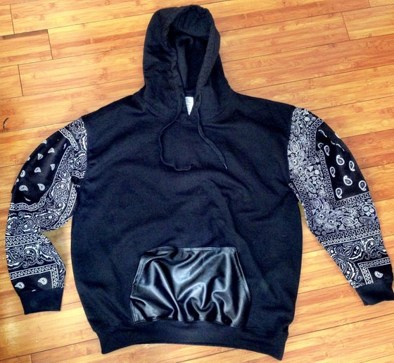 Image of Bandana Sleeves w/Blk leather pocket hoodie