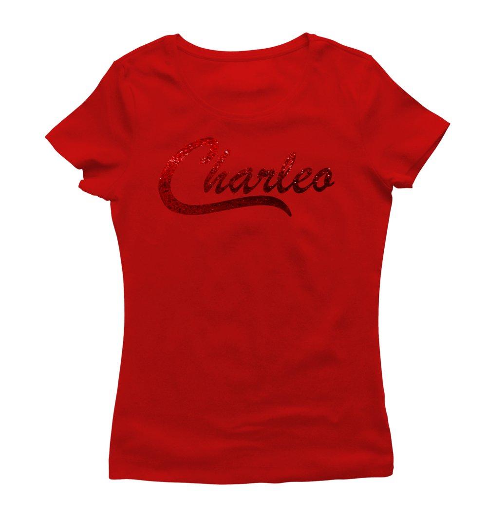 Image of Ladies Original Charleo Tee  Red/Ruby Bling