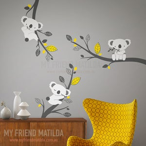 Image of Cute Koalas on Branches - Adorable Wall decals for nursery and playgroom