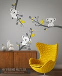 Cute Koalas on Branches - Adorable Wall decals for nursery and playgroom