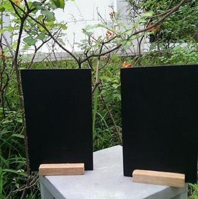 Image of Dual-Sided Mini Standing Chalkboard with Attached Base (4 pieces)